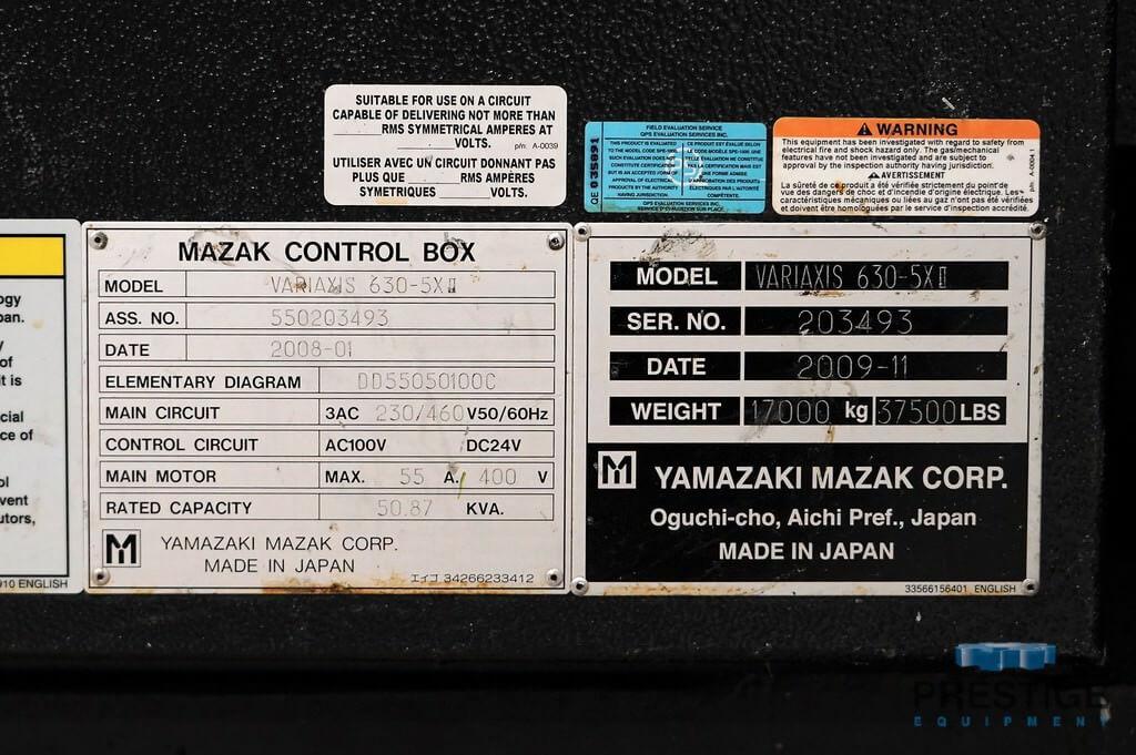 MAZAK Variaxis 630-5X/2 CNC Vertical Machining Center-29963j