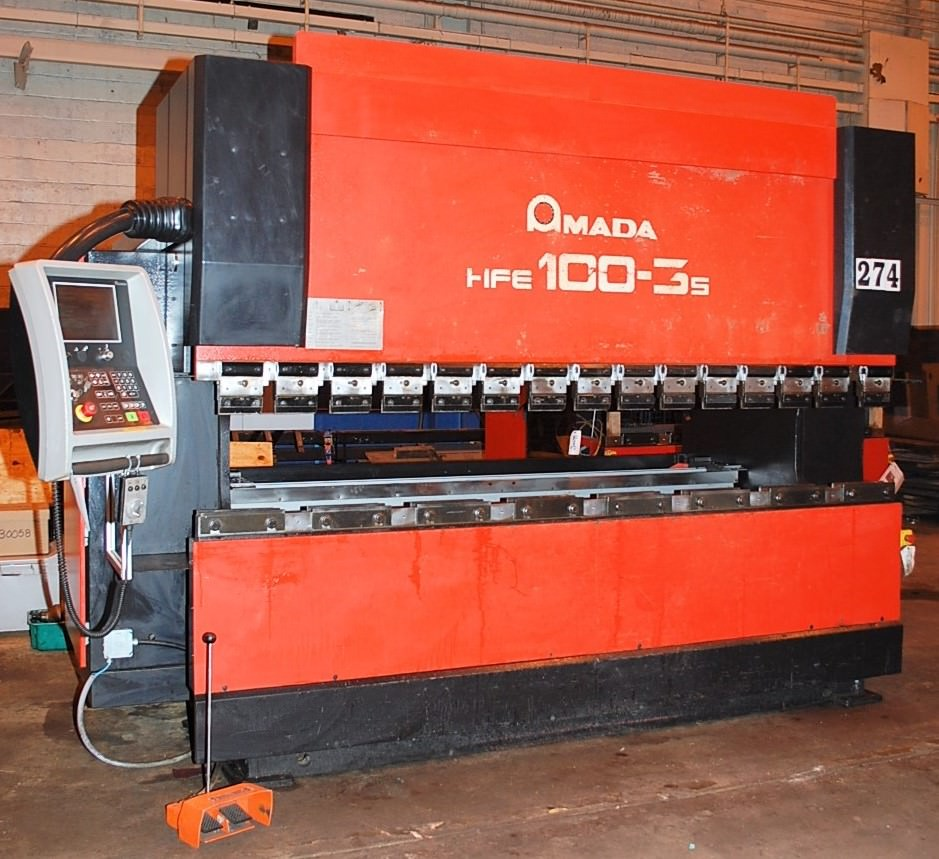 AMADA-HFE-1003S-110-Ton-8-Axis-CNC-Down-Acting-Press-Brake