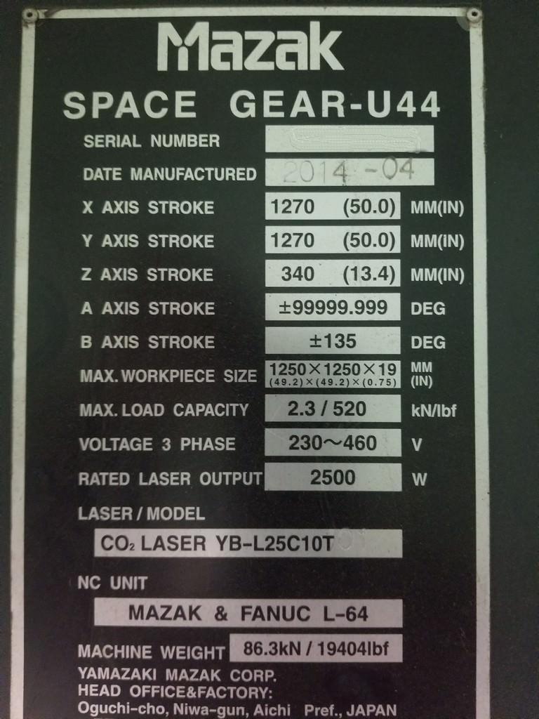 Mazak Space Gear U44 2500 Watt Laser-30393c