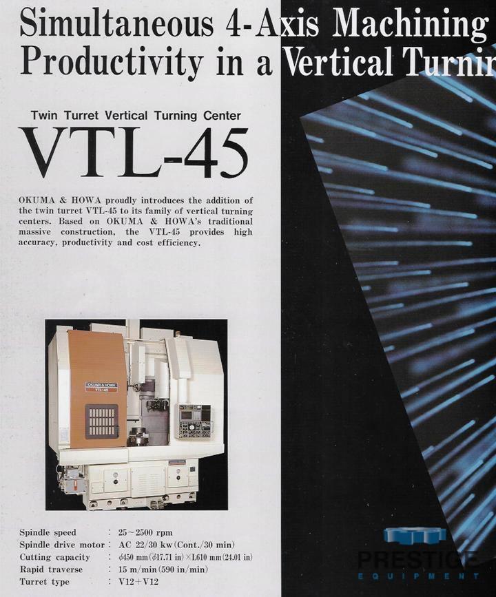 Okuma & Howa 4-Axis VTL-45M CNC Vertical Turning Center/ w/Milling-30952h
