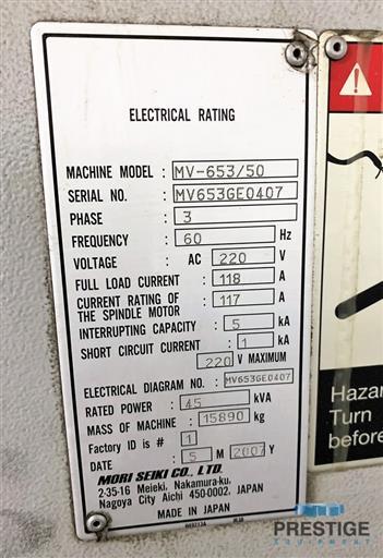 Mori Seiki MV-653/50 Vertical Machining Center-31257g