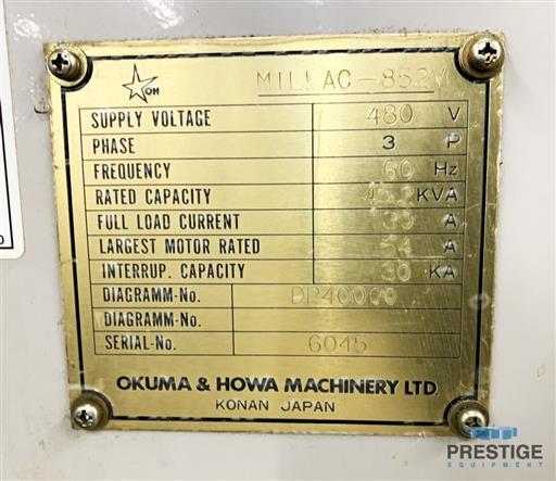 Okuma & Howa Millac 852V/2000 4-Axis Vertical Machining Center-31270i