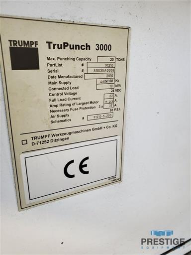 TRUMPF TruPunch 3000 22 Ton CNC Servo Electric Punching System-31394j