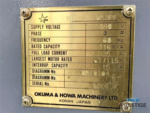 Okuma & Howa Millac 853PF-5X CNC Aerospace Profiler & Machining Center-31464l
