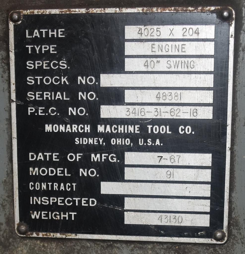 monarch series 91 40 x 216 manual lathe lathes flat bed manual rh prestigeequipment com Sidney Lathe Parts CNC Engine Lathe Machine